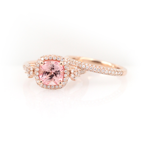 Cushion cut pink sapphire and diamonds in 14k rose gold by A.Jaffe.