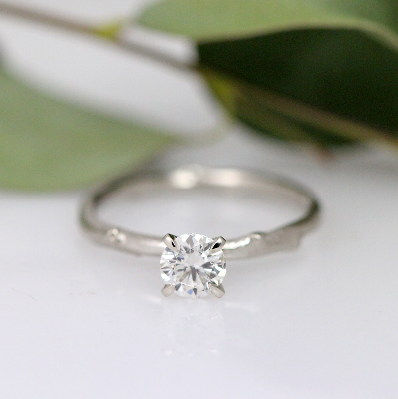 Lab grown diamond solitaire by Pippa Jayne Designs.