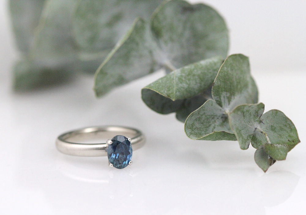 Montana sapphire engagement ring in white gold.