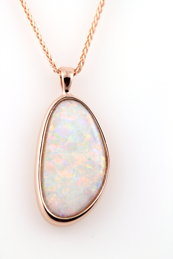 Opal in rose gold organic necklace