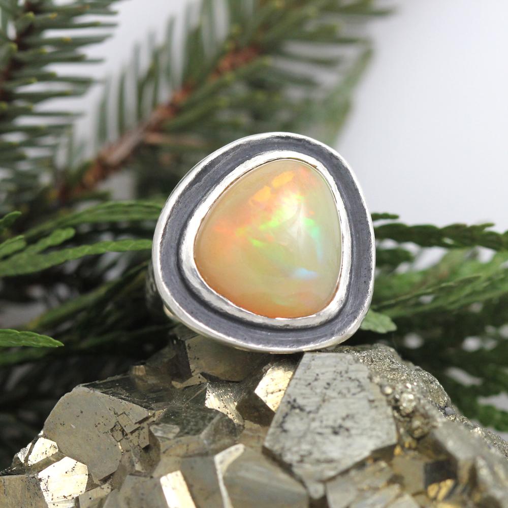 Bespoke opal ring in oxidized sterling silver.
