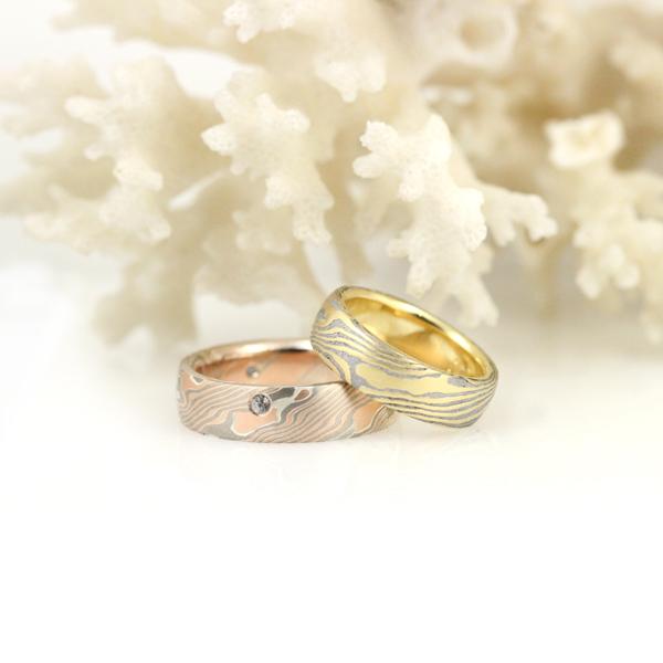 Meteorite mokume gane and sapphire-studded mokume gane wedding set.