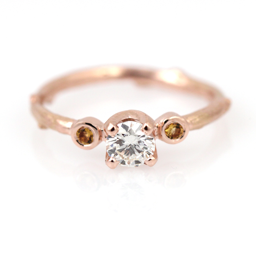 Twig engagement ring with diamond and citrine in rose gold by Pippa Jayne Designs