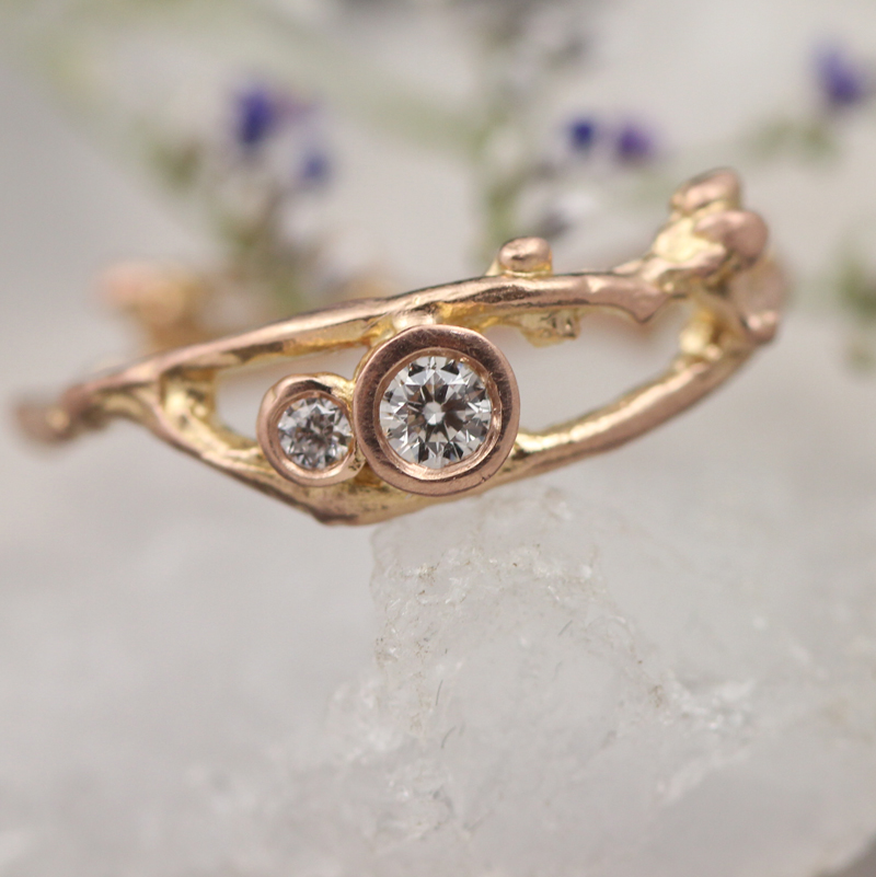 Delicate Bud diamond engagement ring in rose gold by Pippa Jayne Designs.