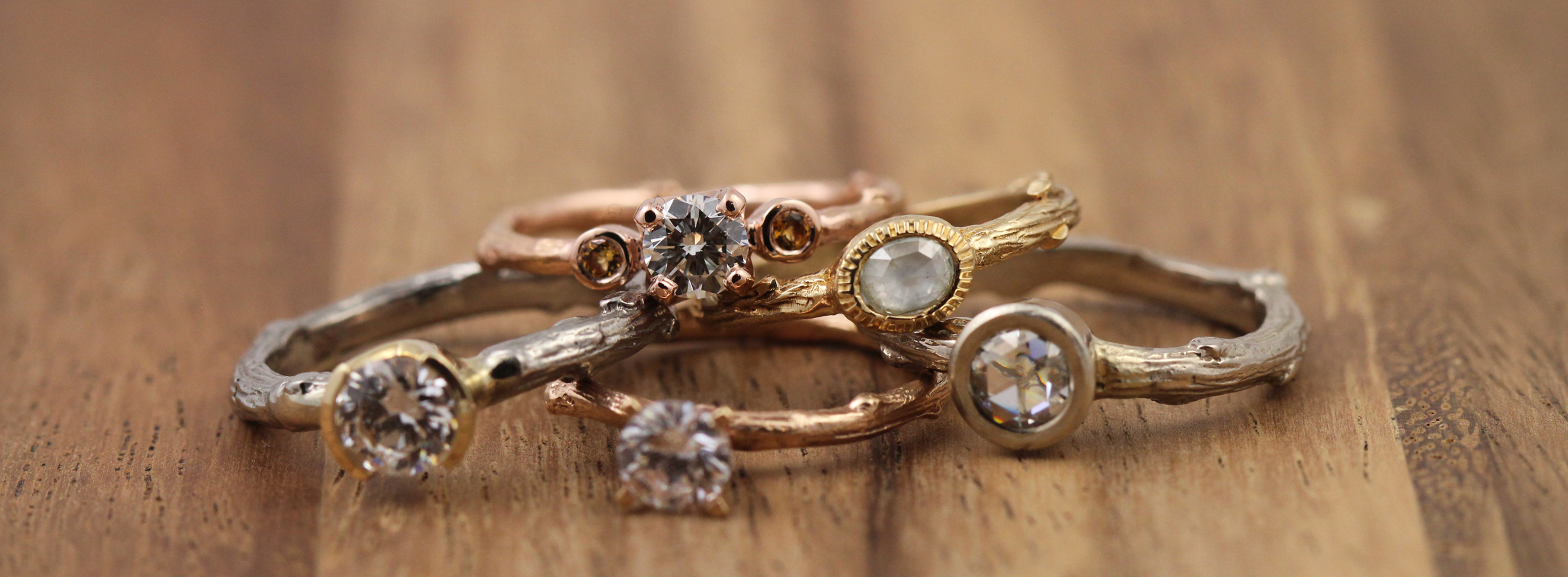 Twig engagement rings by Pippa Jayne Designs