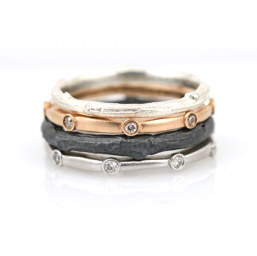 Diamond eternity band and twig ring stack