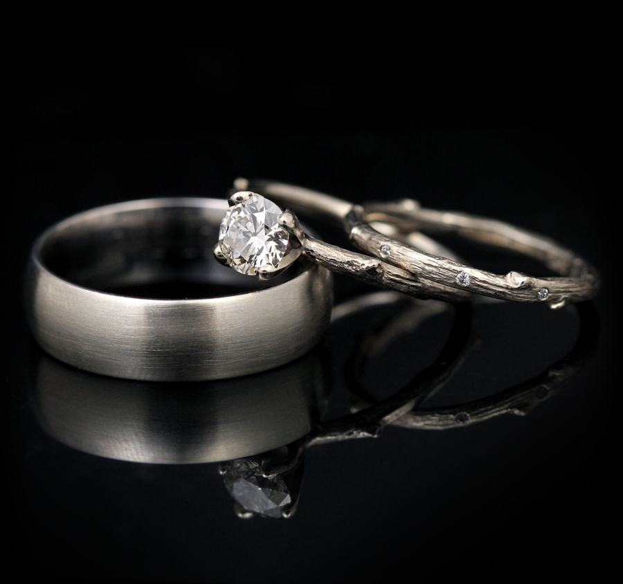Canadian diamonds sparkle in these twig rings by Pippa Jayne Designs
