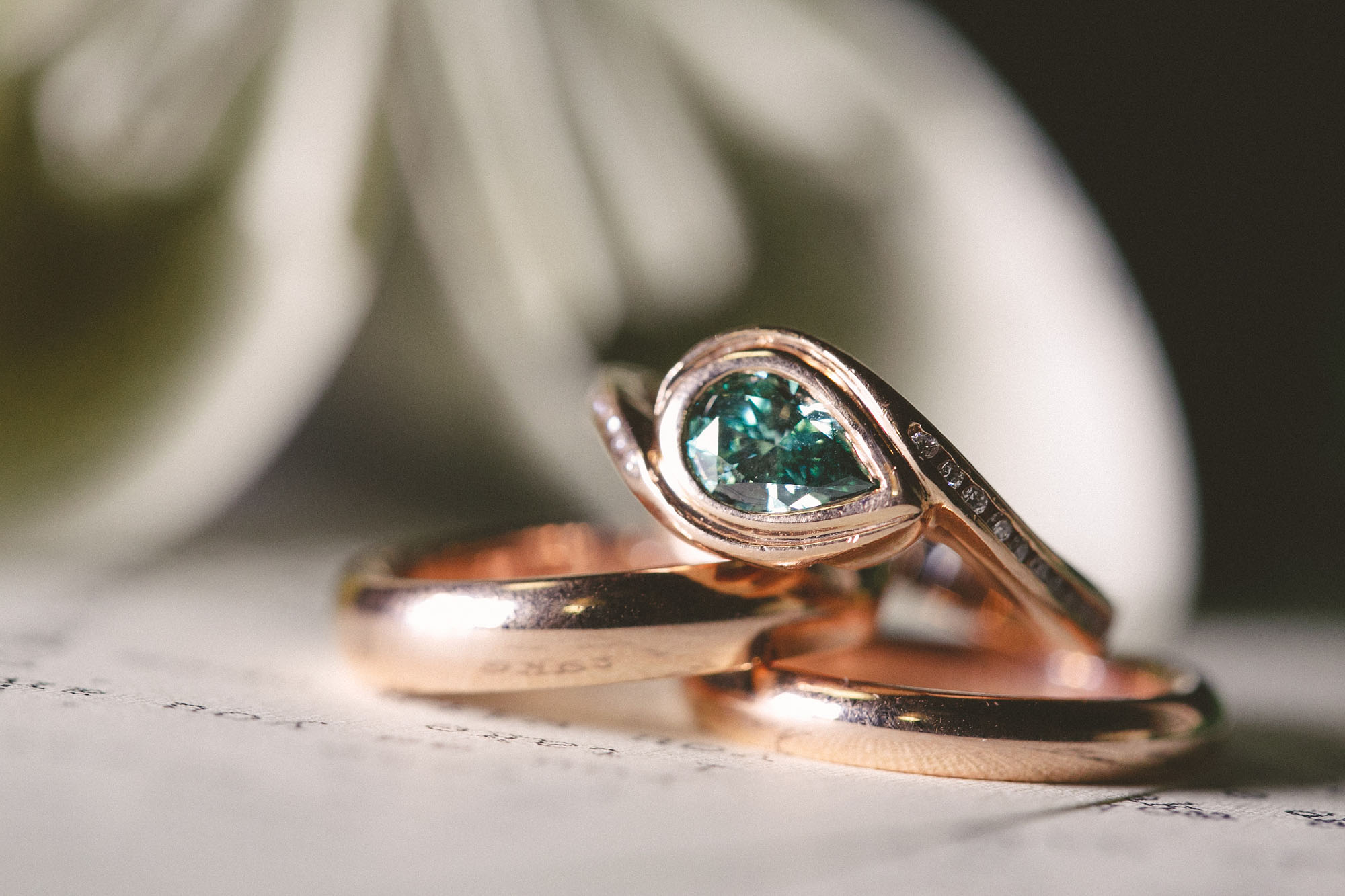 Rose gold wedding set for literary lovebirds