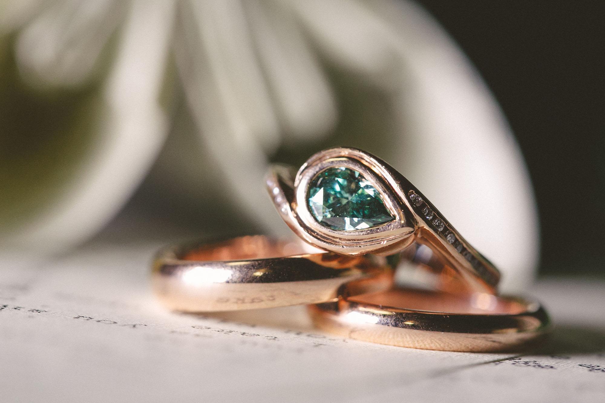 Rose gold wedding set for literary lovebirds