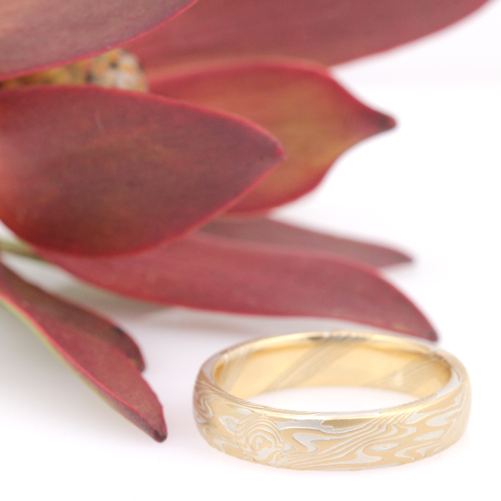 Mokume gane wedding ring by James Binnion.