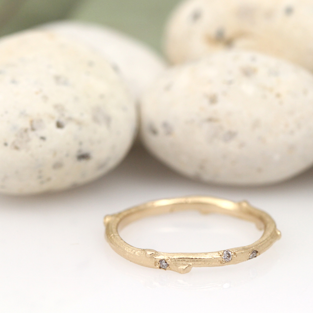 Signature skinny twig in yellow gold with diamond drops by Pippa Jayne Designs.