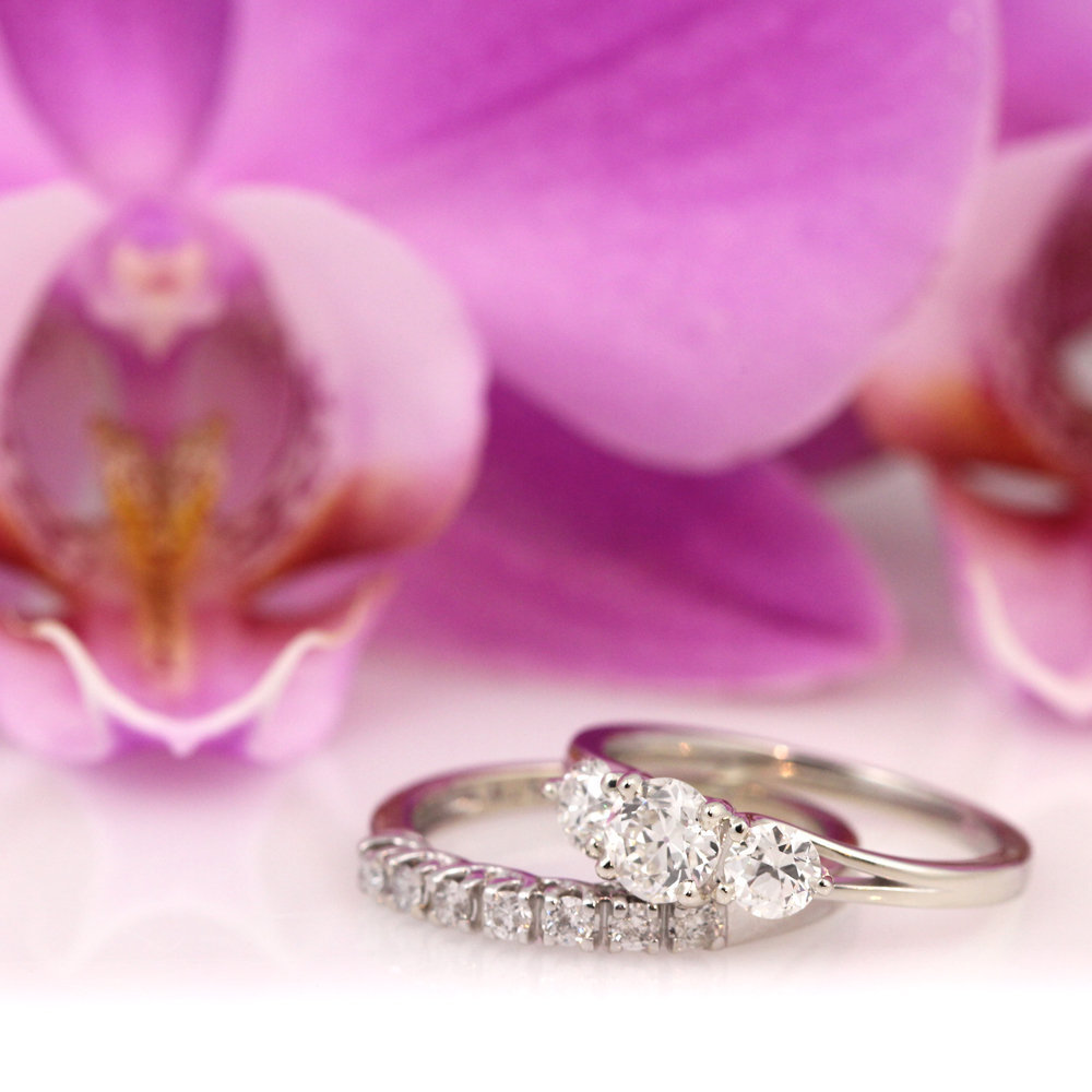 Timeless white gold wedding rings using family diamonds.