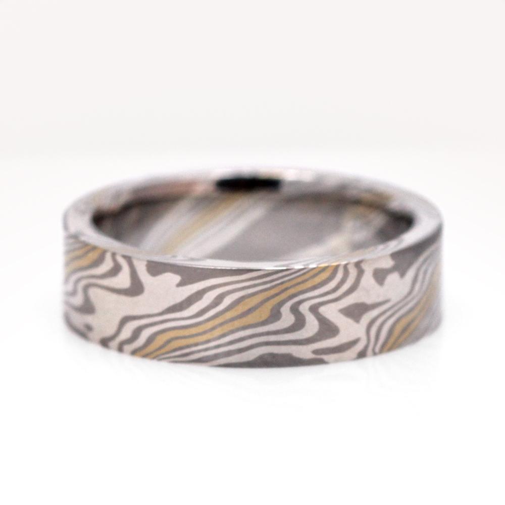 Beech pattern mokume gane wedding band by Chris Ploof Design Studio.