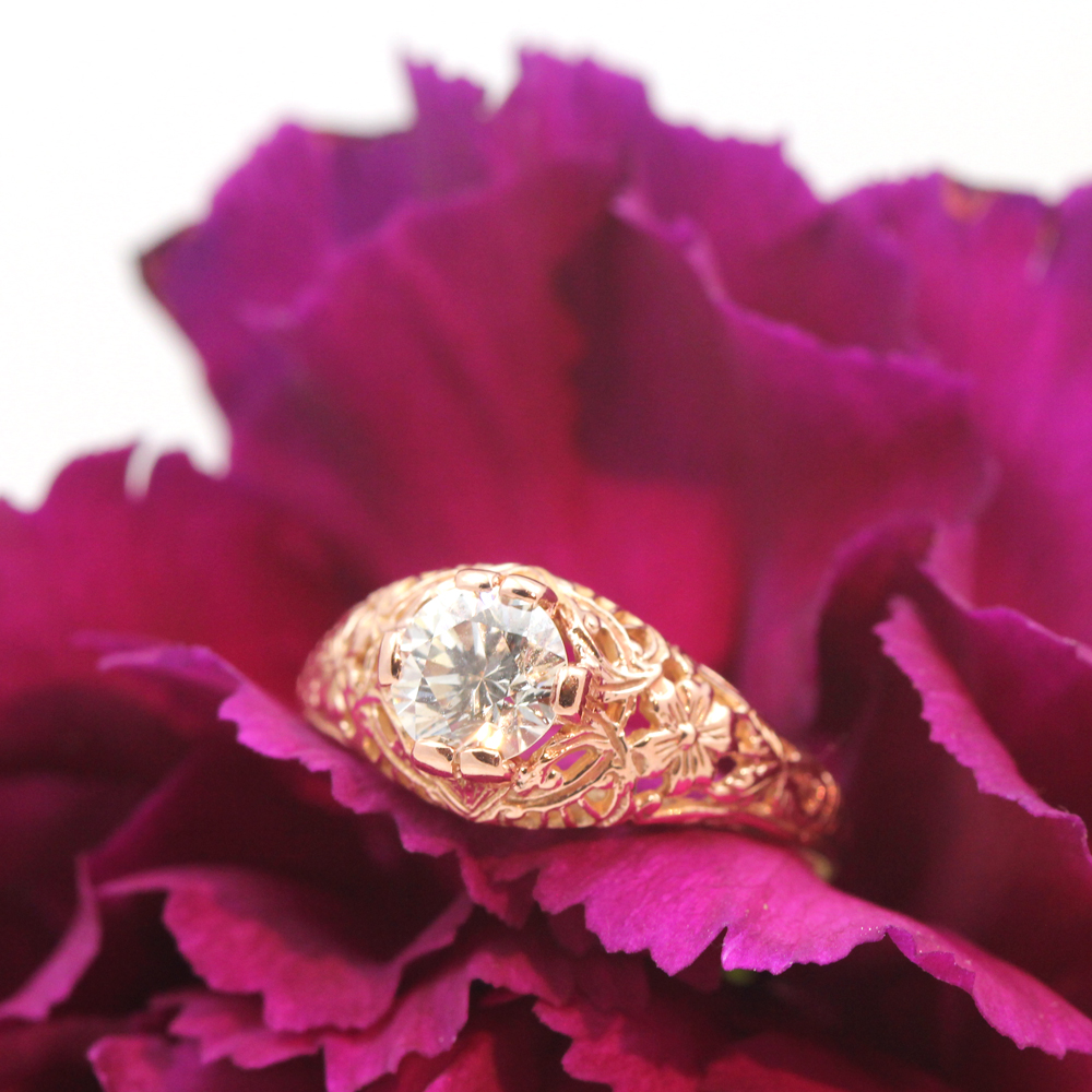 Rose filigree ring by HUGO KOHL style #R058.