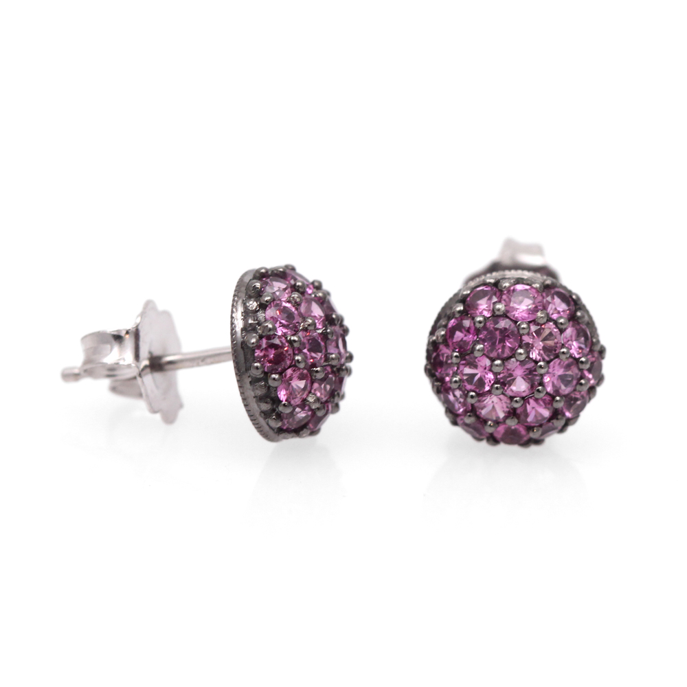Pink sapphire studded dome earrings with black rhodium finishing.