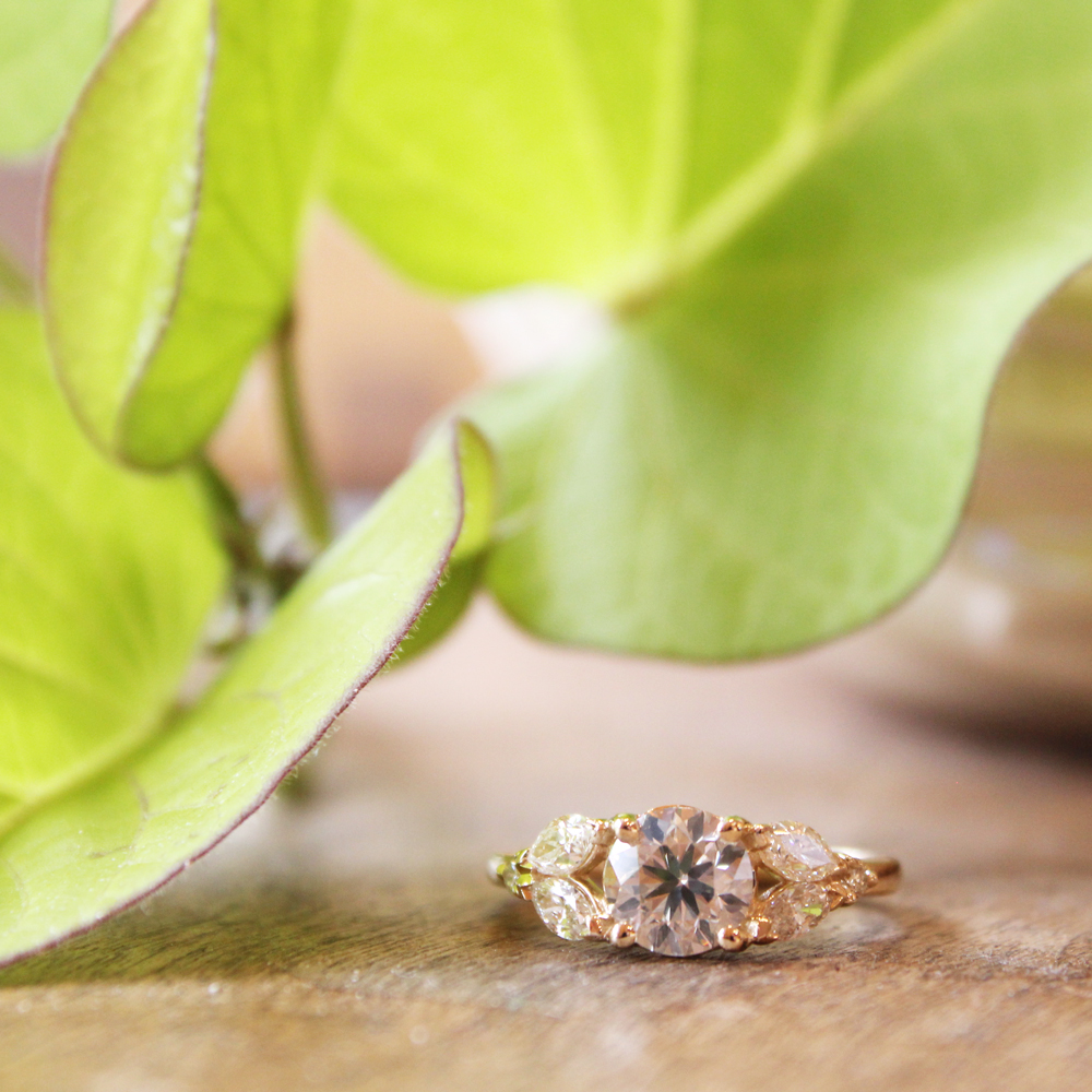 Leafy diamond engagement ring.