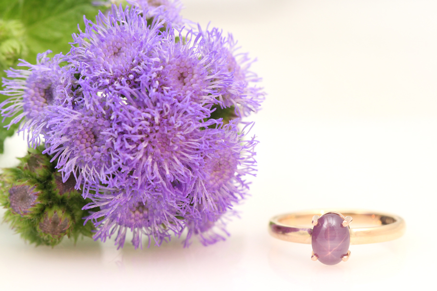 Oval star sapphire wedding ring.