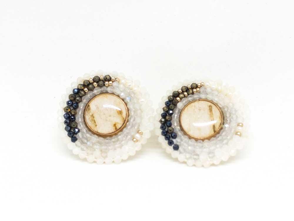 Birch bark centered blue pyrite circle earrings by Cheyanne Symone.