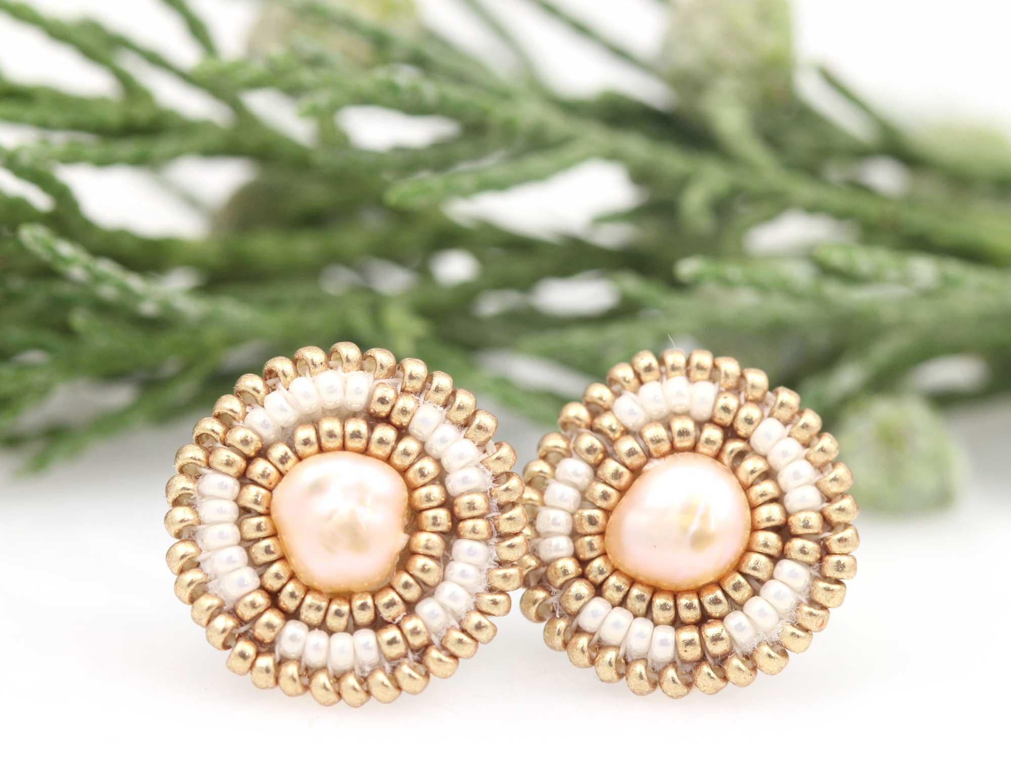 Ceylon beaded circle earrings by Cheyanne Symone.