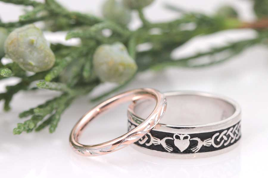 Hand engraved wedding bands in rose gold and white gold.