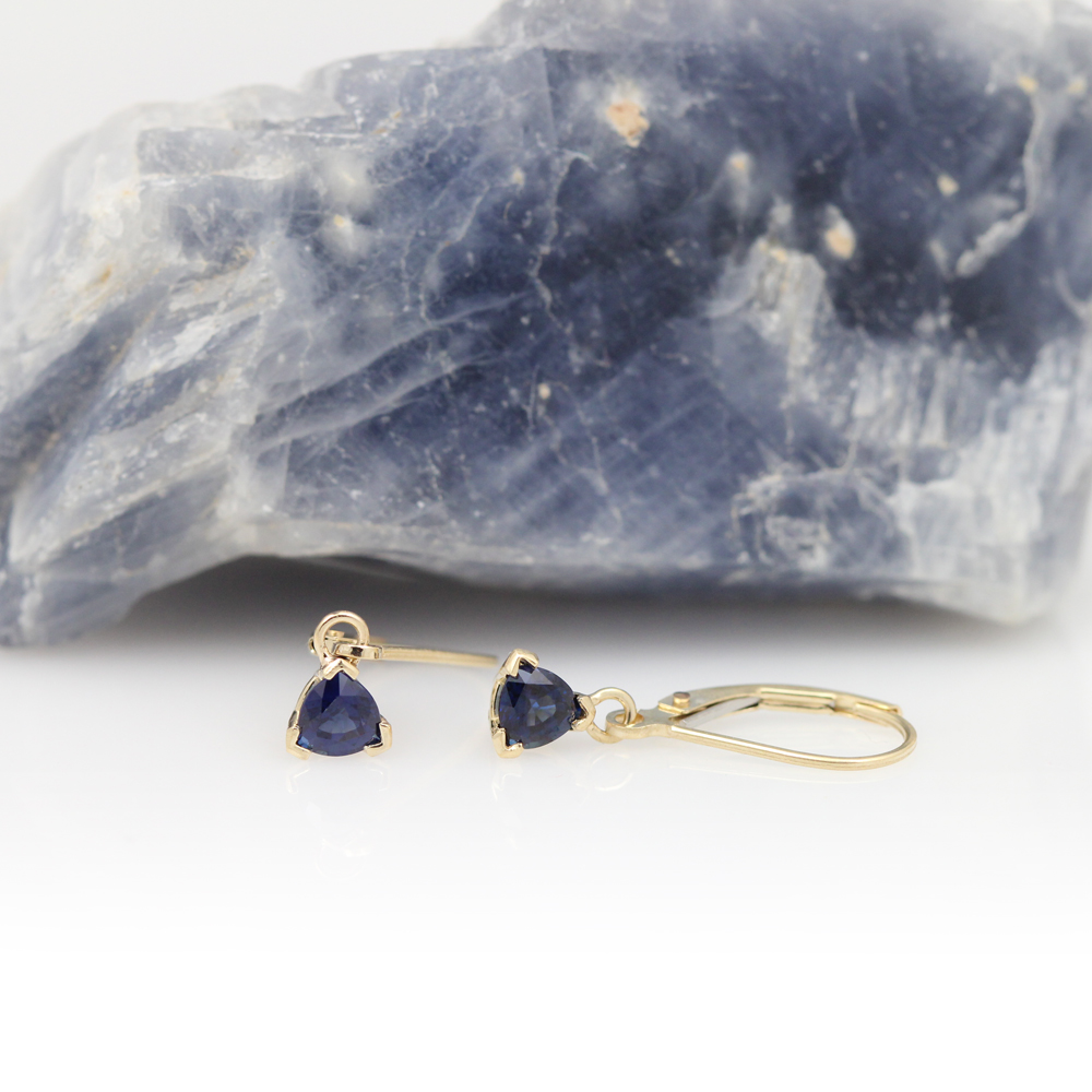 14ky sapphire dangle earrings.