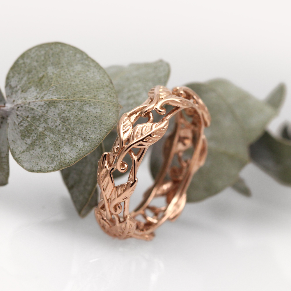 Bespoke rose gold vine band.