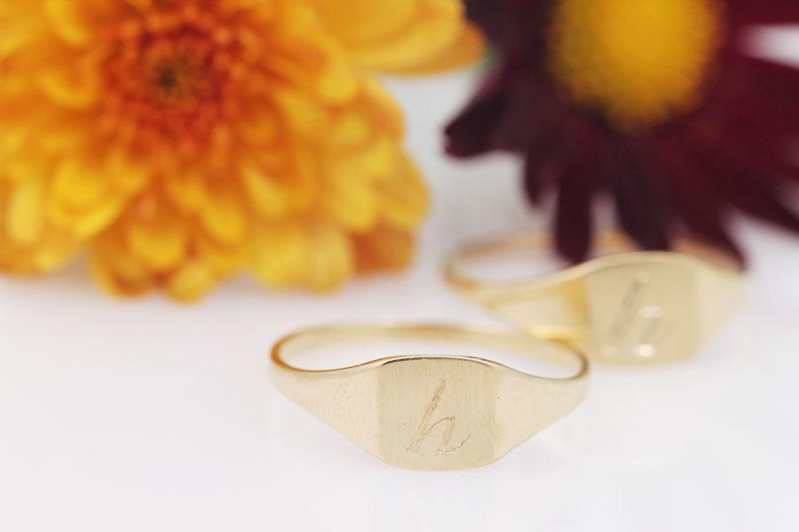 Custom monogrammed 14ky signet rings.