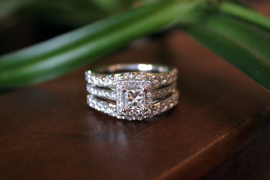 Princess cut diamond halo wedding set