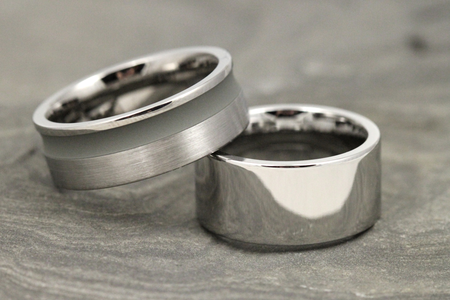 Titanium and gray cerakote wedding bands by Lashbrook Designs.