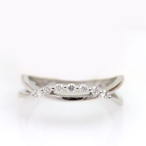 14K White Gold Diamond Crescent Ring