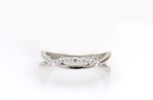 14K White Gold Diamond Crescent Ring