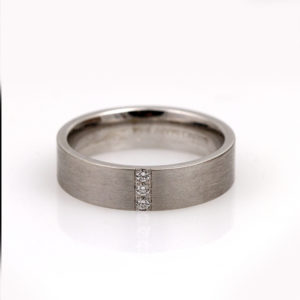 Satin 14K White Gold Diamond Band
