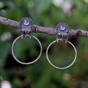 Natalie La Bruzzy Sterling Silver Bone Earrings with Rose Quartz