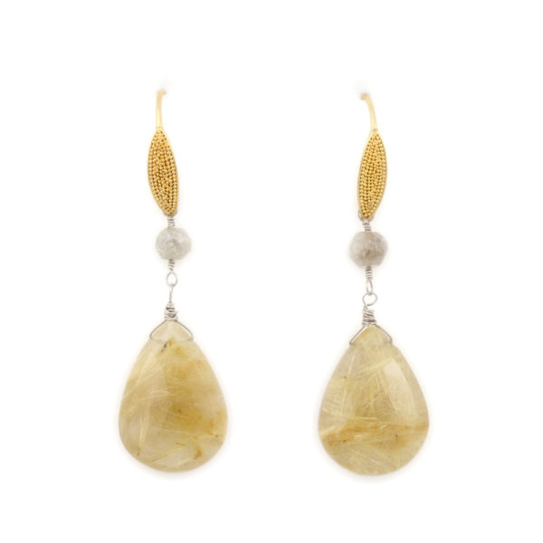 Arte*Vitta 22K and 14K Gold Diamond and Rutilated Quartz Drop Earrings