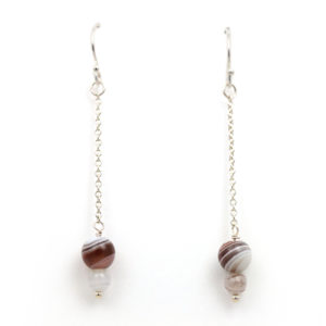 "Arte*Vitta Sterling Silver Botswana Agate ""Icicle"" Chain Earrings"