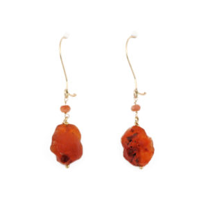 Arte*Vitta Gold Filled with Raw Carnelian and Sunstone Drop Earrings