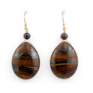 Arte*Vitta Tiger Iron and Boulder Opal Earrings