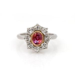 "Arte*Vitta Platinum, Padparadscha Sapphire and Diamond ""Blossom"" Ring"