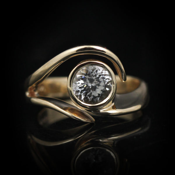 14K Yellow Gold Sculptural Zircon Ring