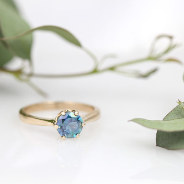 14K Yellow Gold and Teal Blue Enhanced Topaz Ring