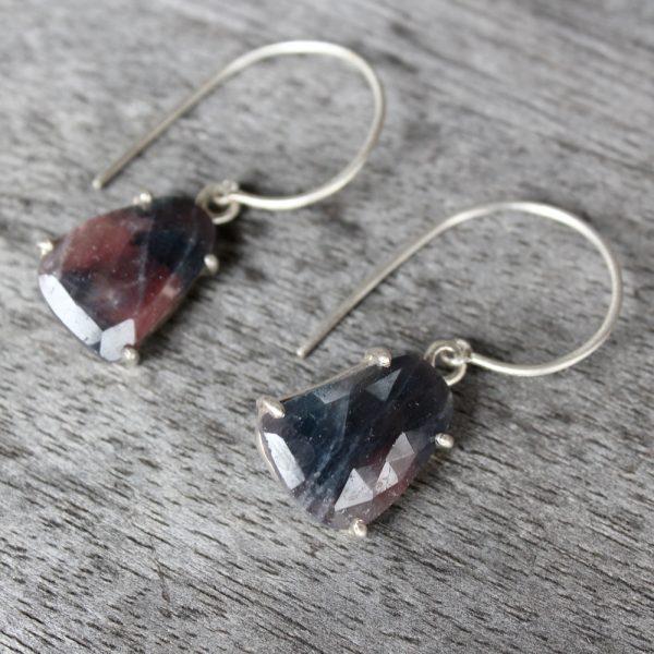 """Barton Designs Sterling Silver Ruby Slice """"Shield"""" Earrings"""