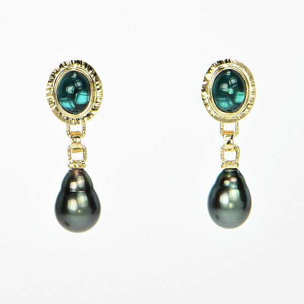 Baksa 14K Yellow Gold Indicolite and Tahitian Pearl Earrings