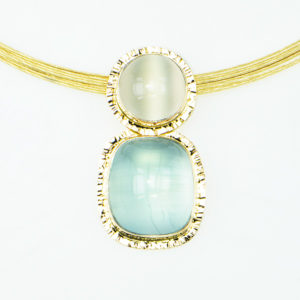 Baksa 14K Yellow Gold Aquamarine and Moonstone Pendant