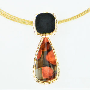 Baksa 14K Yellow Gold Black Jade & Peanutwood Jasper Pendant