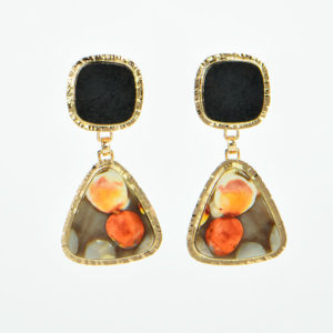 Baksa 14K Yellow Gold Black Jade and Peanutwood Jasper Earrings