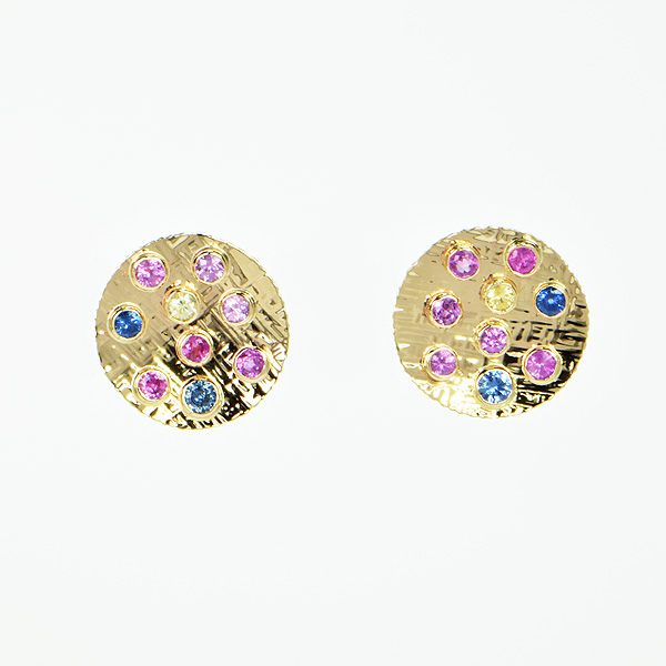 Baksa 14K Yellow Gold Multi-Colored Sapphires Disc Earrings