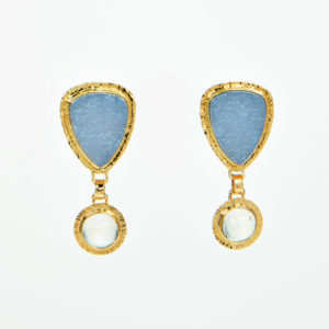 Baksa 14K Yellow Gold Chalcedony & Rainbow Moonstone Earrings