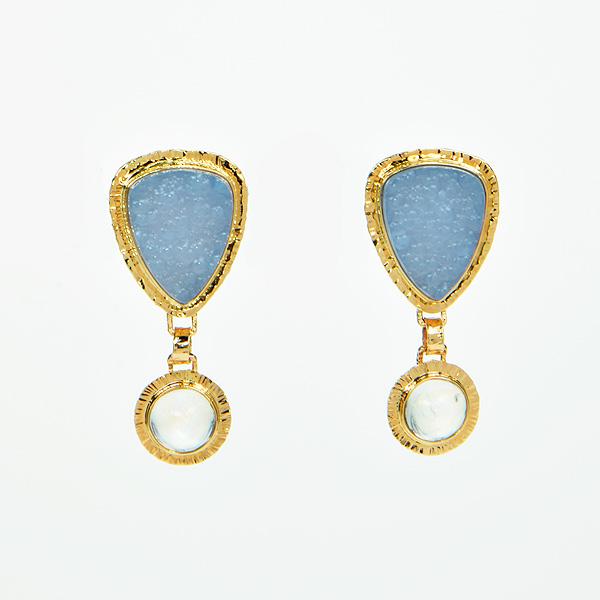 Baksa 14K Yellow Gold Chalcedony & Rainbow Moonstone Earrings