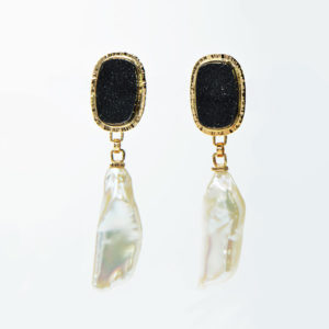 Baksa 14K Yellow Gold Black Druzy & Freshwater Pearls Earrings