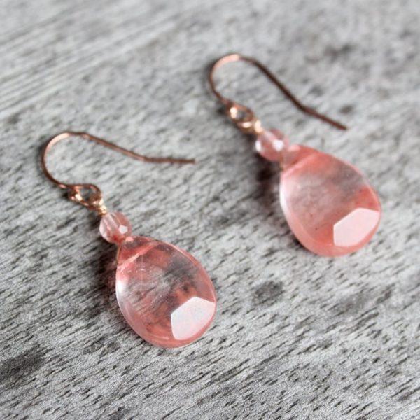 """Arte*Vitta Rose Gold Fill Strawberry Quartz """"Raindrop"""" Earrings"""